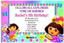 1 x DORA THE EXPLORER BIRTHDAY CHILDRENS PERSONALISED INVITATIONS + MAGNETS