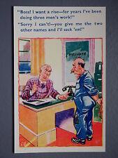 R&L Postcard: Comic, HB 6092 Hard Working Man, Rubbish Boss