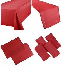 LINEN LOOK RED TABLE CLOTHS BRIGHT PLAIN BIRTHDAY PARTY CHRISTMAS OCCASIONS