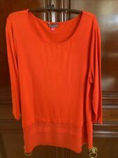 Vince Camuto Red Tunic Size L, Excellent Condition, Chiffon Layered Detail
