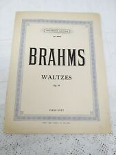 PIANO DUETS BRAHMS WALTZES OP 39 VINTAGE SHEET MUSIC BOOK