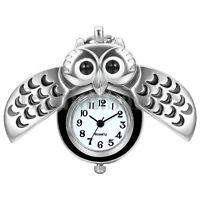 Fashion Owl Design Silver Tone Quartz Pocket Watch Pendant Necklace Chain Gift