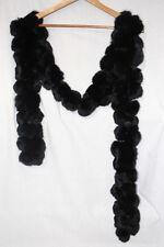 CEJON Accessories Inc Genuine Rabbit Fur Ball Scarf, Black, LONG!!-B87