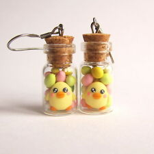 Chocolate Colorful Eggs Mini Food Yellow Chick Candy Glass Jar Earrings Jewelry