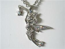 CRYSTAL FAIRY TINKERBELL MAGIC PENDANT NECKLACE SILVER