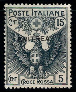 Eritrea 1916 Sass. 42 Senza gomma 100% Croce rossa, 15 cent + 5 cent
