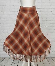Check Tweed Poncho Skirt Principles Petite Orange Blanket Tassel Flippy Hem  6
