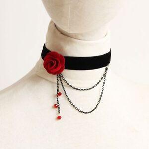 Gothic Victorian Black Velvet Ribbon Black/Red Rose Flower Choker Necklace LN026