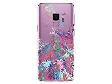 Samsung Galaxy S9 - Coque transparente souple et solide avec motif (Plumes 2)