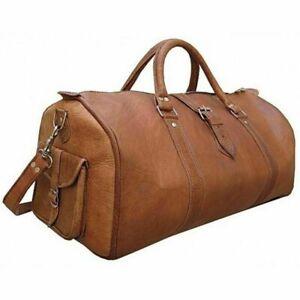 New Vintage Men Genuine Leather travel duffle weekend bag lightweight luggage