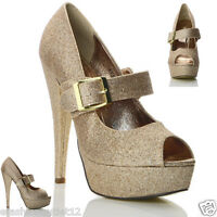 NEW WOMENS LADIES  PEEP TOE HIGH HEEL GOLD EVENING PARTY SHOES SIZE 3 4 5 6 7 8
