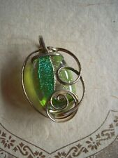 Vintage Necklace Pendant Sterling silver Dichroic Art Glass Green Teal Purple