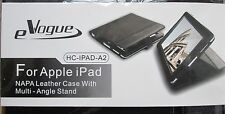 EVOGUE Black Leather Ipad Case & Multi-Angle Stand - NEW in Package
