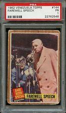 1962 Venezuela Topps Baseball Card #144 Babe Ruth Farewell Speech PSA 1