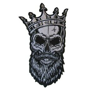 Large Skull King Crown Iron On Patch Full Back Piece Motif Badge 30 x 18cm P389