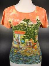 Beautiful Women's Small Take Two Multi-Color Boats Lake Design Short Sleeve Top