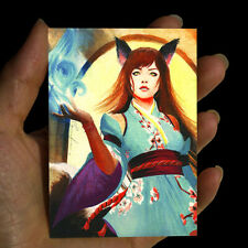 original painting watercolor miniature art picture FANTASY MAGIC WOMAN PORTRAIT
