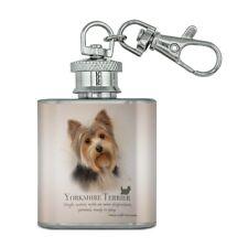 Yorkshire Terrier Yorkie Dog Breed Stainless Steel 1oz Mini Flask Key Chain