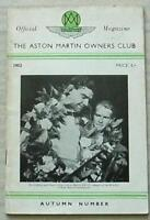 The ASTON MARTIN OWNERS CLUB Car Official Magazine 1952 AUTUMN No