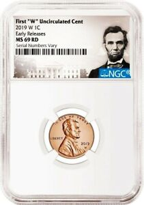 """2019 W First """"W"""" Uncirculated Cent Early Releases NGC MS69 penny Portrait Label"""