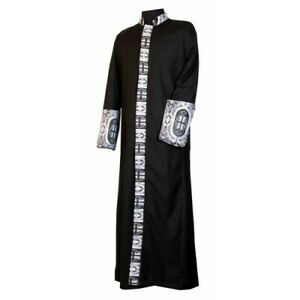 Clergy, Minister, Pastor, Preacher Robe Black with Silver Brocade Cross Trim