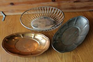 3 Bread basket Bowls Lot Wire EL Germany Silverplated Vintage and copper bowl