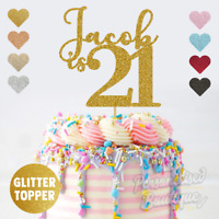 Personalised Custom Glitter Cake Topper, is Twenty One 21st Birthday Girls Boys