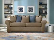 Stretch Piqué Three Piece Queen-Size Sleeper Sofa Slipcover taupe new