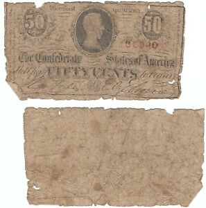 Confederate States of America, Cr.T63-487 50 Cents 2nd Series, B, Apr. 6 1863 G