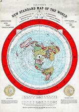 "Flat Earth Map 23""x32"" LARGE 1892 Alexander Gleason New Standard Map the World"