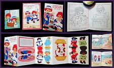 3 Unused Raggedy Ann  Novelties - Birthday Book, Coloring Book & Mobile 1970s