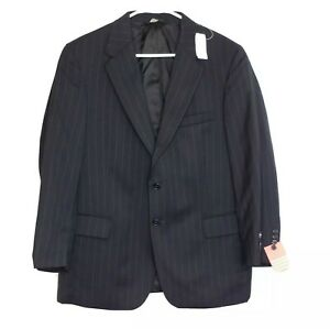 Jos A Bank Signature Collection Mens 42S Wool Suit Jacket Regal Fit Navy Striped