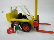 Vintage 1980 Geobra Play Mobile Forklift with Figure and First Aid Case