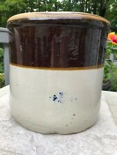 Antique 5 Gallon Brown Glaze Stoneware Crock/Churn, Stamped
