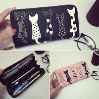 Cartoon Cat Women Lady Leather Clutch Wallet Long PU Card Holder Purse Handbag