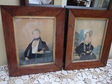 Antique Pair 19c English School Water Color Folk Art Portraits ~ 1837