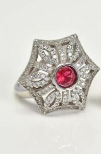 A Stunning Vintage Silver 925 Umbrella Style Cocktail Ring with Red Stone Centre