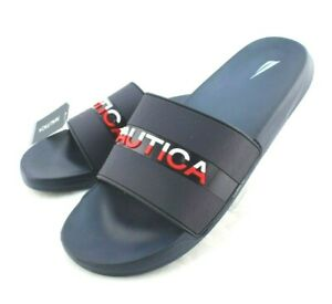 NAUTICA Wakefield Size 8 Navy Blue with Red & White Logo Slide Men's Sandals