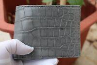 Double Side Handmade Genuine Crocodile Leather Skin Men Bifold Wallet Gray