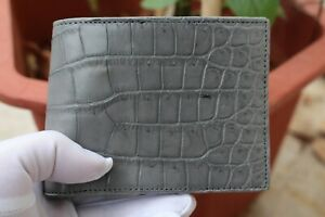 Double Side Handmade Genuine Crocodile Leather Skin Men Bifold Wallet Gray
