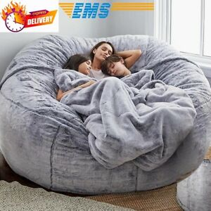 Modern large sleeper sofa bed full couch seat Fur bean bag cover room lazy chair