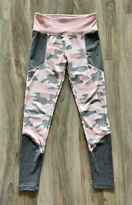 Justice Active Camo Pink Grey Legging Size 12