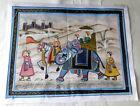 "Vintage 1950's India Hand Painted Silk 13"" Mughal Rajah w Elephant & Horse"