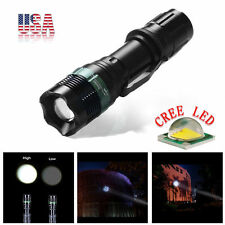 US Tactical 2200 Lumen Zoomable T6 LED Flashlight Focus Torch Zoom Lamp Light MX