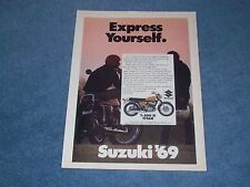 "1969 Suzuki T-500 Ii Titan Vintage Motorcycle Ad ""Express Yourself"""