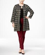 Alfani Women's Plus Size Black Plaid Topper Jacket NWT Size 1X MSRP $119 WJ808