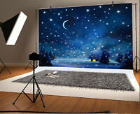 7x5ft Peace Winter Snow House Moon Stars Props Backdrop Studio Photo Background