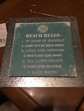 ' BEACH RULES ' Nautical Rustic Shabby Chic Wooden / Tin Wall Sign Plaque Green