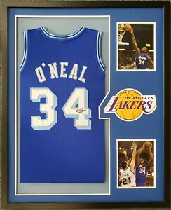 LOS ANGELES LAKERS SHAQUILLE O'NEAL FRAMED SIGNED BLUE JERSEY JSA COA!!!