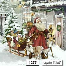 (1277) TWO Individual Paper LUNCHEON Decoupage Napkins - CHRISTMAS SANTA SLEIGH